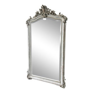19th C. French Louis XV Carved Beveled Mirror