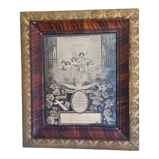 Antique Victorian Mourning Lithograph in Gilt Wood Frame For Sale