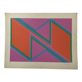 "1970s David Leverett Signed and Numbered ""Untitled"" Serigraph Unframed For Sale"