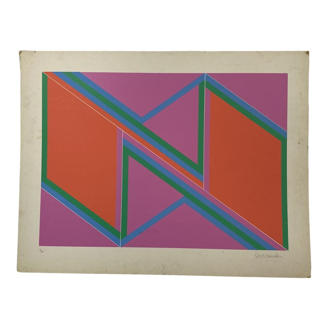 """1970s David Leverett Signed and Numbered """"Untitled"""" Serigraph Unframed For Sale"""