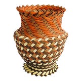 Image of Vintage Woven Basket Vase - Red, Brown, and Tan For Sale