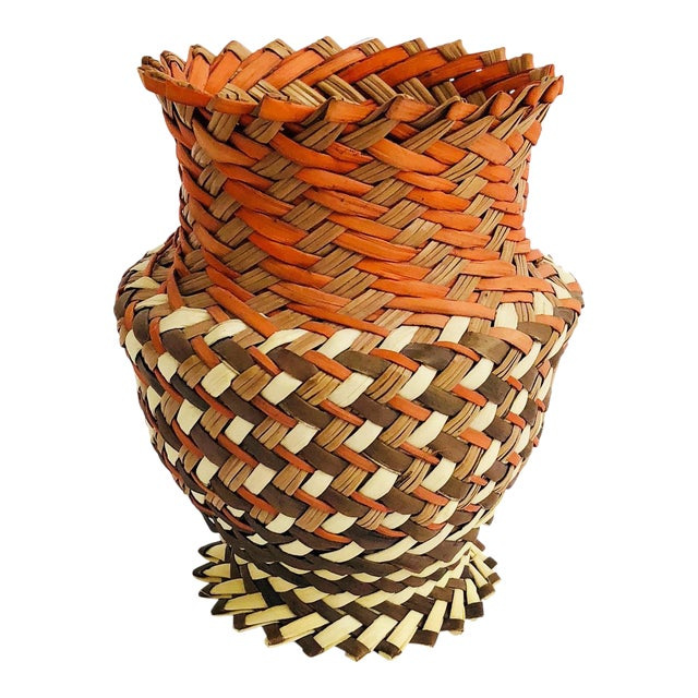 Vintage Woven Basket Vase - Red, Brown, and Tan For Sale