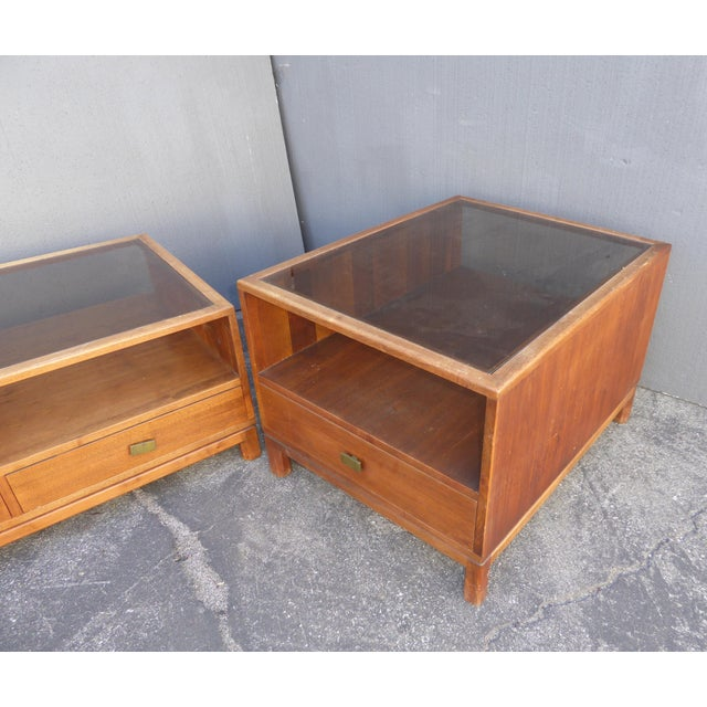 Vintage Danish Mid Century Modern Walnut Coffee & End Table - Set of 2 For Sale In Los Angeles - Image 6 of 13