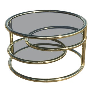 1980s Mid-Century Modern Milo Baughman for Dia Brass and Glass 3 Tier Circular Side Table For Sale