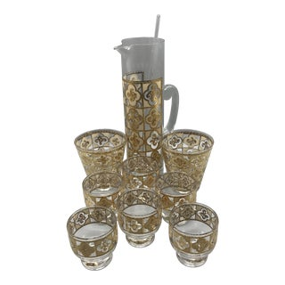 Mid Century Culver Martini Pitcher 6 Stemless Martini Glasses 2 Lowball Glasses and Stirring Stick Set of 10 For Sale