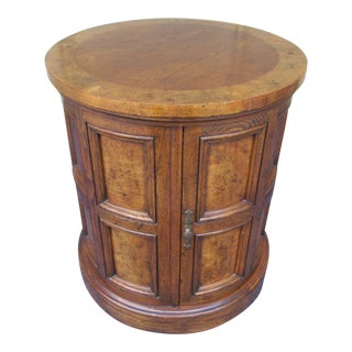 Mid-Century Modern Drum Style Table With Burl Wood Panels For Sale