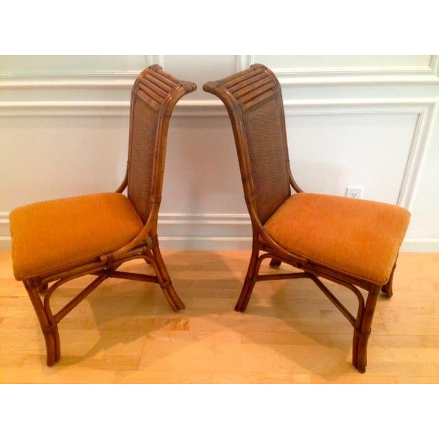 Tommy Bahama Wicker Rattan Upholstered Side Chairs - A Pair - Image 2 of 8