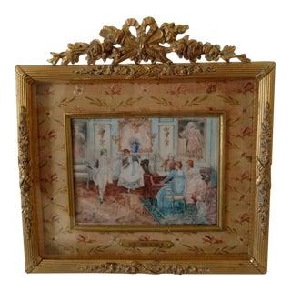 "Antique 19th Century French Miniature ""Le Menuet"" Painting"