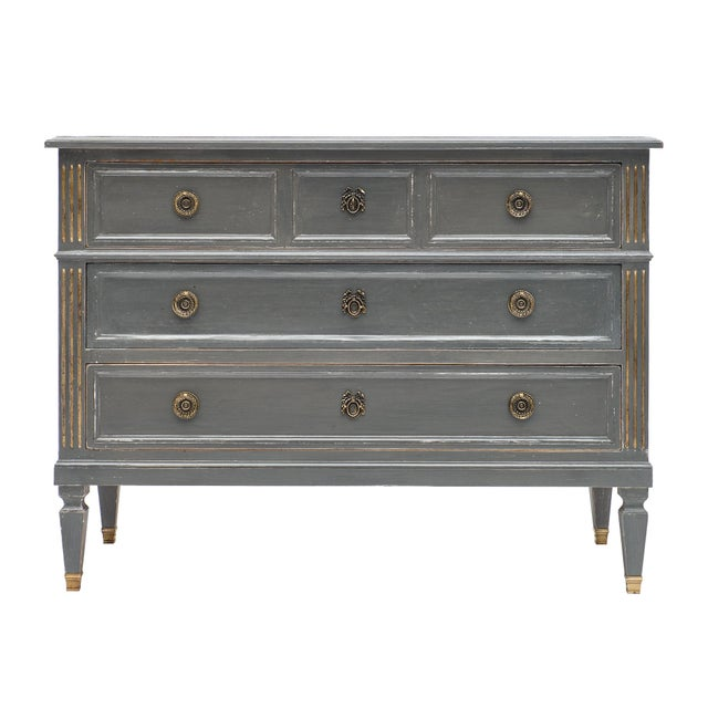 Antique Louis XVI Style Gray Painted Chest For Sale - Image 10 of 10