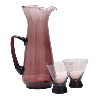 Amethyst Blown Glass Pitcher and Glasses - 3 Pc. Set For Sale