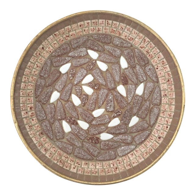 Vintage Mid Century Modern Handcrafted Multi Tone Brown Mosaic Tile Large Bowl For Sale