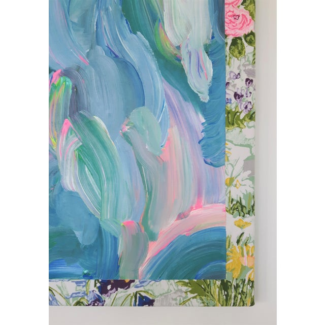 """Frances Sousa """"Get Ready for the Flood"""" Contemporary Abstract Floral Acrylic Painting on Vintage Textile For Sale - Image 10 of 11"""