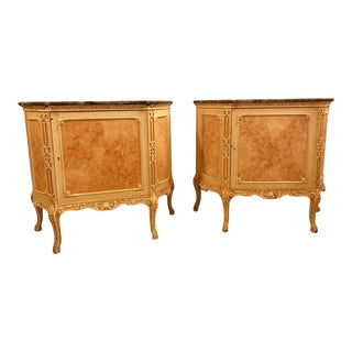 Hostetler Custom Faux Painted Marble Top Commodes, Chests or Nightstands - a Pair
