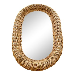 Boho Oval Natural Wicker Rattan Mirror For Sale