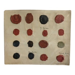 Antique English Red Black & Green Intaglio Wax Seals For Sale