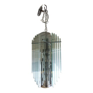 Luminaire Contemporary Large Tiered Glass & Chrome Hanging Chandelier For Sale