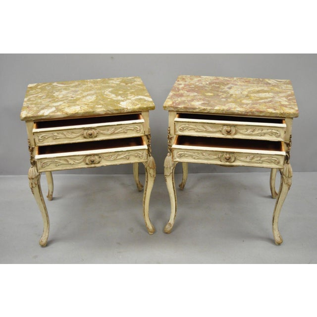 1950s French Louis XV Marble Top Nightstands - a Pair For Sale - Image 4 of 11