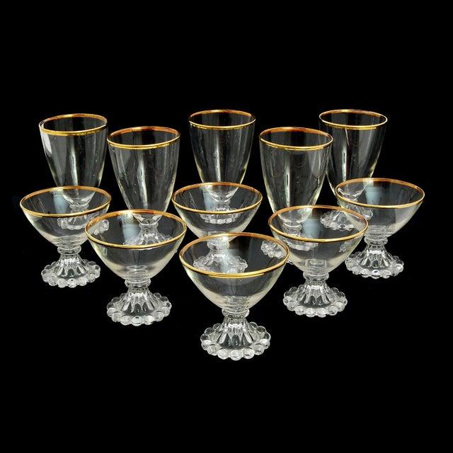Gold Edge Vintage Glasses - Set of 11 - Image 3 of 4