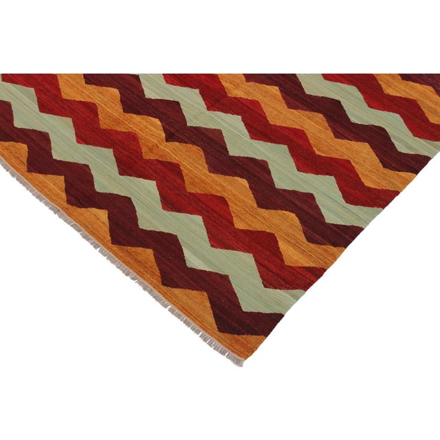 Tribal Abstract Kilim Margaret Hand-Woven Wool Rug - 6′4″ × 9′ For Sale - Image 3 of 8