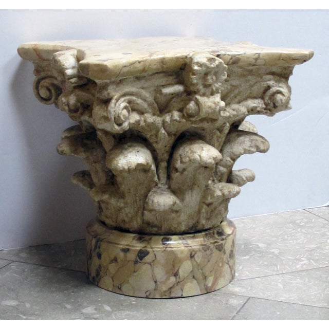 1960s An Exuberant American Painted Plaster Corinthian Capital With Faux Marble Base and Top For Sale - Image 5 of 5