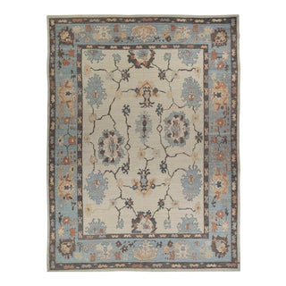 New Persian Oushak Style Rug With Black & Blue Floral Details on Ivory Field For Sale
