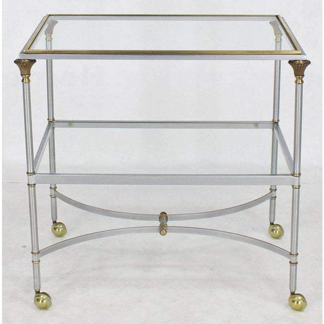 Gold Mid Century Modern Two-Tier Brass Chrome Glass Rectangular Serving Bar Cart For Sale - Image 8 of 9