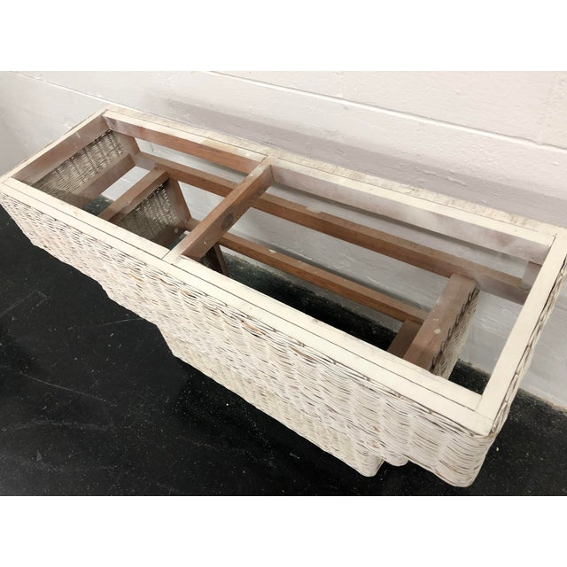 Vintage Boho Chic Wicker Basket Woven Console Table For Sale - Image 9 of 11