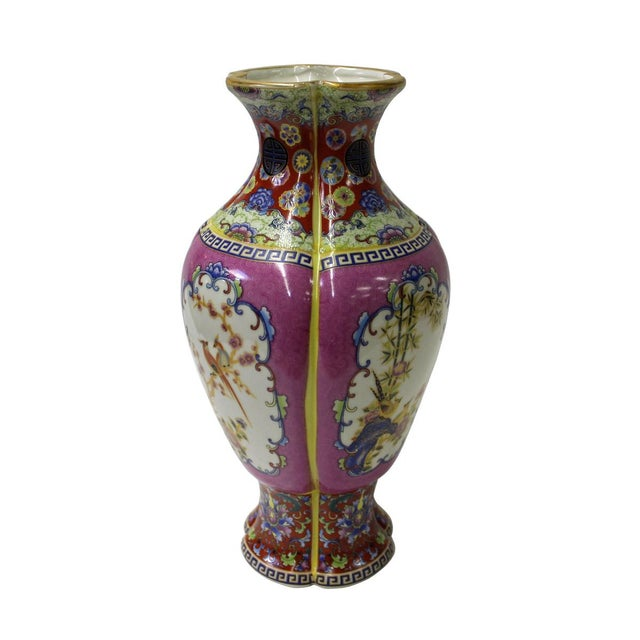 This is an oriental Chinese porcelain vase in purple color and printed precise geometric pattern and flower & birds...