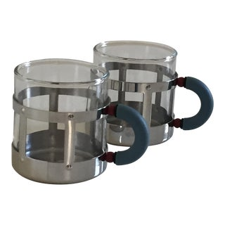 Alessi Mocha Polished Stainless Steel and Glass Cups - A Pair