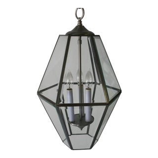 Hexagon Shaped Brushed Metal & Glass Lantern Pendant Fixture For Sale