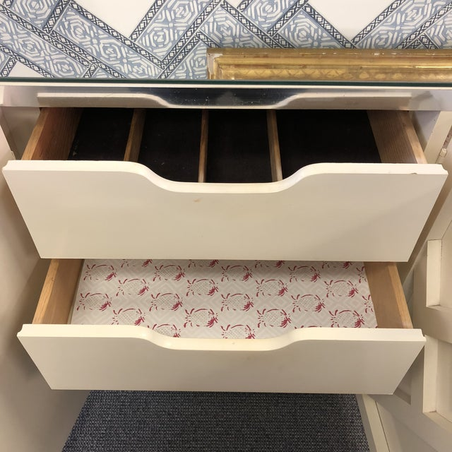 1960s Vintage Fretwork Cream Wood Credenza With Mirror Top For Sale - Image 5 of 8