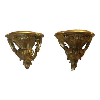 Antique French Rococo Gilt Wood Wall Bracket Wall Sconces - A Pair