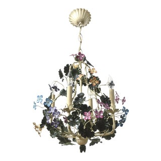 Multicolor Tole Flower Chandelier For Sale