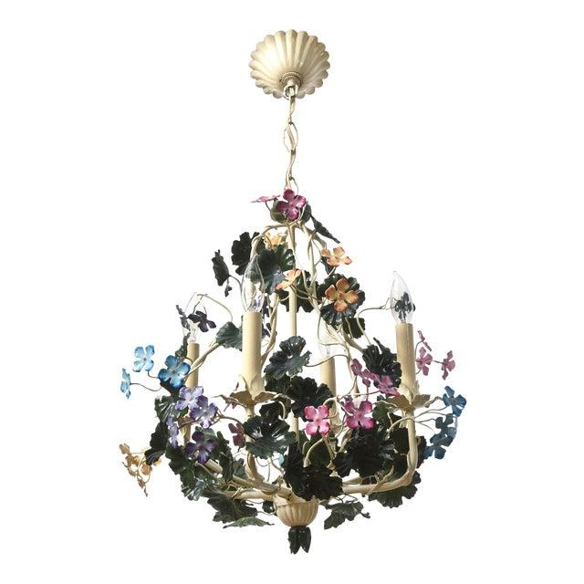 Multicolor Tole Flower Chandelier For Sale