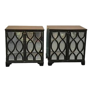 Pair of James Mont Inspired Mirrored Commodes With Beautiful Carved Wood Overlay For Sale