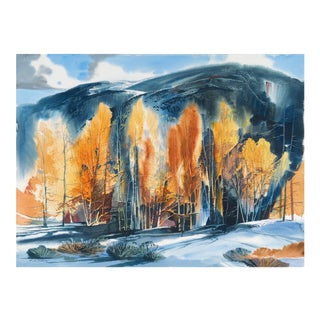 'Aspens in Winter' by Laurence Sisson, Impressionist, American Watercolor Society, Boston Museum of Fine Arts For Sale