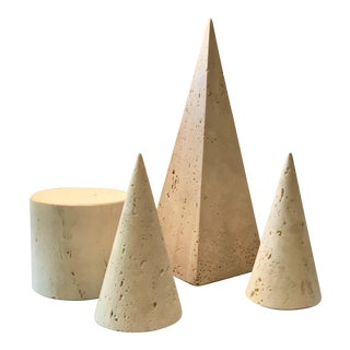 Filli Mannelli for Raymor Italy Style Mid-Century Travertine Geometric Objects - Set of 4 For Sale