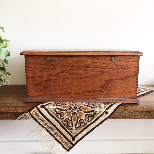 1920s Antique Oak Desk Box With Brass Hardware For Sale - Image 5 of 10
