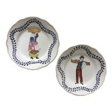 Image of Faience Hand-Painted Quimper Style Plates-A Pair For Sale