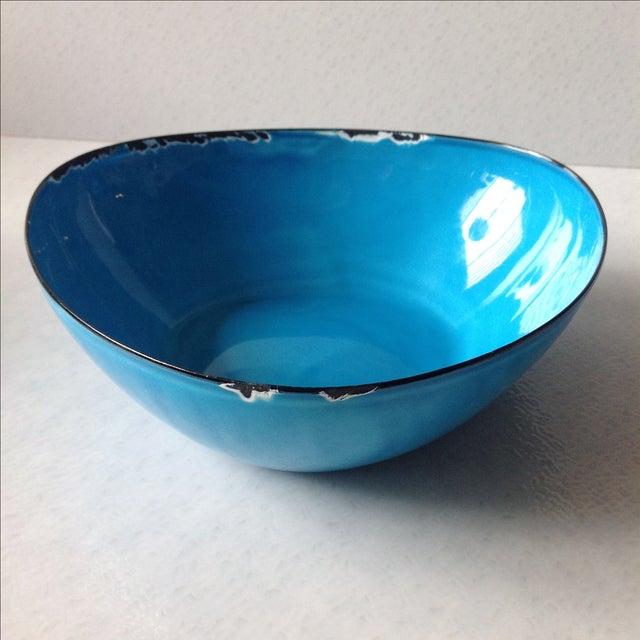 Mid-Century Modern Blue Enamel Metal Bowl - Image 10 of 11