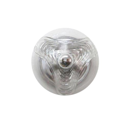 Timeless, molded clear glass flush mount lights by Peill & Putzler Germany, wall or ceiling mounted, available sizes 13″,...