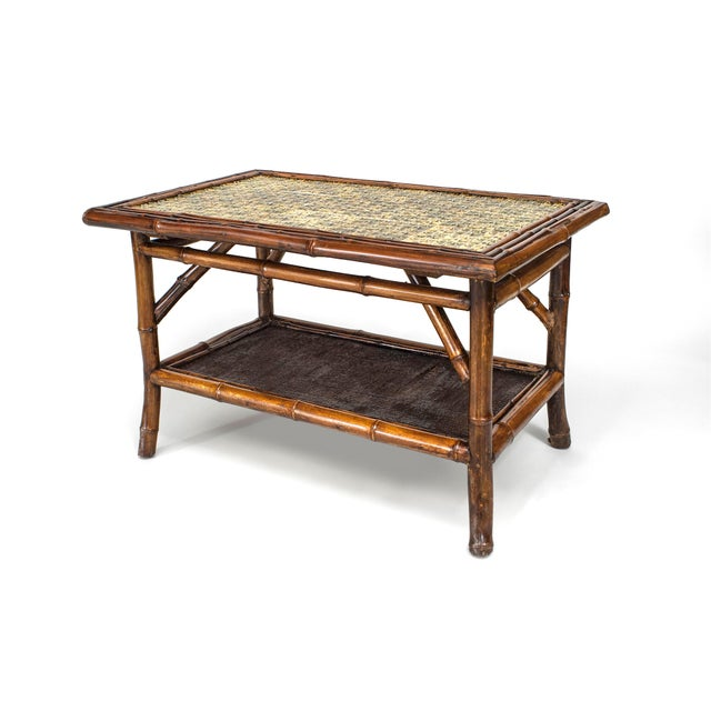 Traditional 19th Century English Bamboo Tile Top Coffee Table For Sale - Image 3 of 3