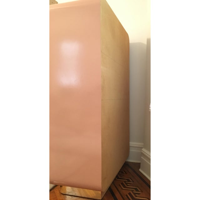 Modern Rose Pink Laminate Armoire With Brass Base For Sale - Image 4 of 12