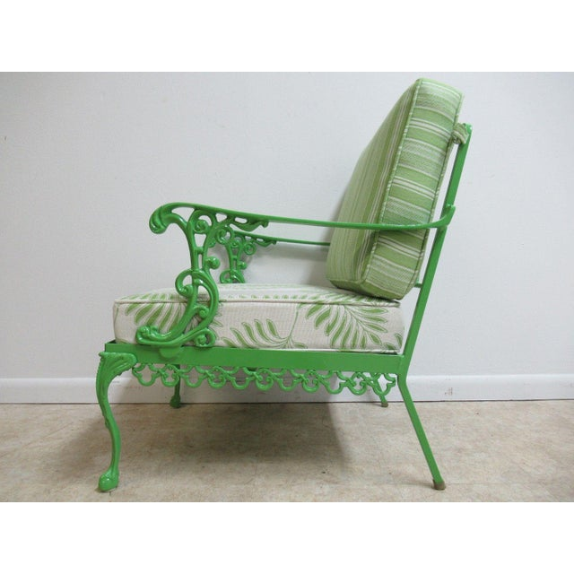 Vintage Green Aluminum Chippendale Ball & Claw Patio Chair For Sale - Image 11 of 11