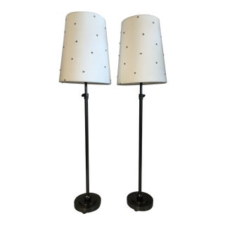 Modern Tall Skinny Adjustable Table Lamps - a Pair For Sale
