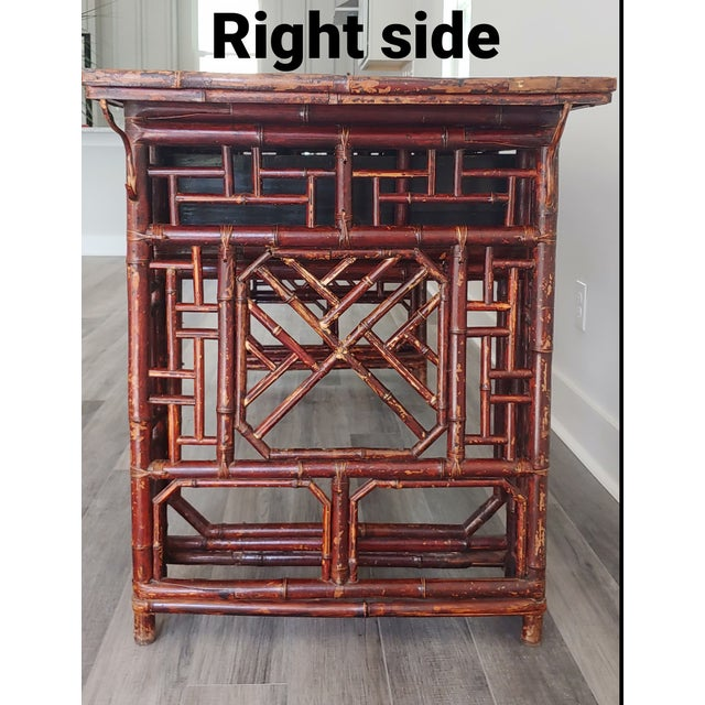Hollywood Regency Antique Chinese Chippendale Frettwork Altar Console Table For Sale - Image 3 of 13