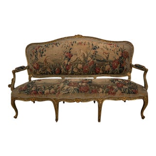 Mid 19th Century Louis XV Painted and Gilded Sofa For Sale