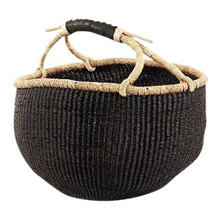 African Boho Chic Bolga Ghana Medium Black Woven Fiber Basket