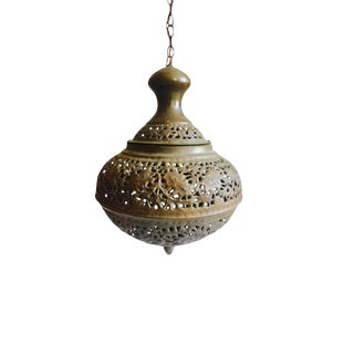 Vintage Pierced Brass Pendant Light Moroccan Lantern For Sale