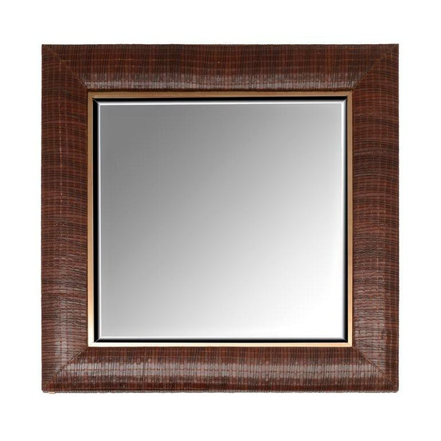 Contemporary Laura Weave Leather Mirror For Sale - Image 3 of 6